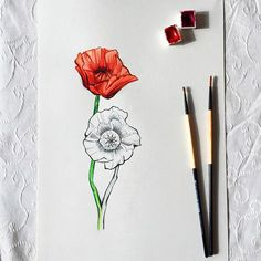 Musmutlu gelincik çiçeklerini bahar özlemiyle çizdim efendim #flower #watercolor #flowers