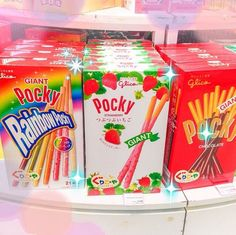 pocky japanese candy treats asian food kawaii cute<br> Sometimes you just want the experience of visiting someplace without having to get out your passport or sell a kidney to pay for it. Japanese Candy, Japanese Sweets, Cute Japanese, Japanese Food, Japanese Drinks, Cute Snacks, Cute Food, Yummy Food, Snacks Japonais
