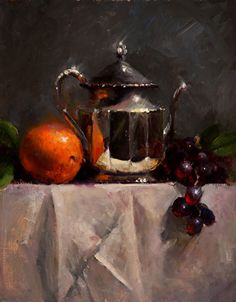 Silver with Orange and Grapes by Kathy Tate Oil ~ 14 x 11