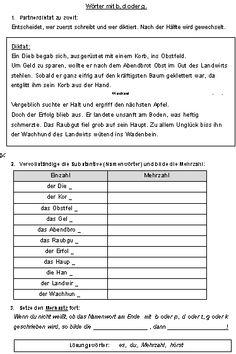 Arbeitsblätter zur Rechtschreibung: Wörter mit z oder tz | deutsch ...