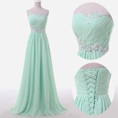 2017 long mint chiffon Prom Dress,sweetheart appliques Prom Dress , strapless Prom Dress