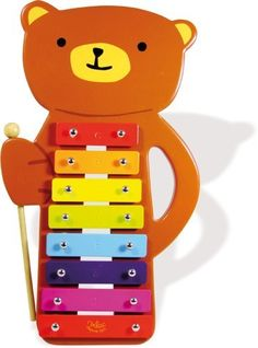 "Vilac Baby Musical Toy Metallophone, Teddy Bear by Vilac. $26.90. Metallophone bear cub lets your little one make great music with the notes C D E F G A H C . This little bear cub will help children to learn about music. Dimensions are 12"" x 7"" x 1""."