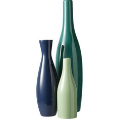 Shop 3-piece blue and green scout vase set.   Three blue/green vessels scale hi/lo in a tonal trio of cool stoneware.  Glossy teal pin, navy bottle, mint mini-bottle each sprout a single bloom, or group sans botanicals as objects of art.
