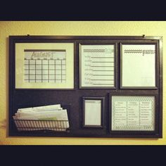 DIY organization board. Painted corkboard... what a great idea!