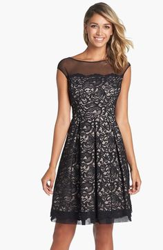 Eliza J Illusion Yoke Lace Fit & Flare Dress Fit Flare Dress, Fit And Flare, Lace Party Dresses, Formal Dresses, Nordstrom Dresses, Creations, Dresses With Sleeves, Gowns, Style Inspiration