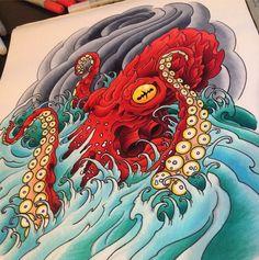 Japanese style Illustration of an Octopus, Kraken, Squid. Octopus Tattoo Sleeve, Kraken Tattoo, Kraken Art, Octopus Tattoo Design, Octopus Tattoos, Tattoo Designs, Kraken Squid, Tattoo Arm, Hand Tattoos