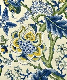 This Waverly print reminds me of the forms in Jacobean crewel. The paisley-like flowers, flowing leaves, and varied textures are so rich.  I love the use of blues, yellows, and yellow-greens.