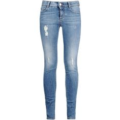 Stella McCartney Pale Blue Skinny Long Jeans (12.245 UYU) ❤ liked on Polyvore featuring jeans, pants, bottoms, calças, dark navy, ripped jeans, distressed skinny jeans, dark blue jeans, low rise skinny jeans and destroyed skinny jeans