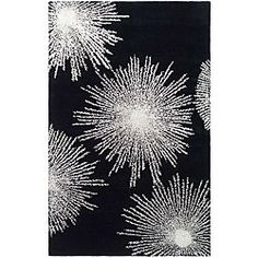 @Overstock - Soho Black Burst rug features a hand-tufted and modern design Area rug has a black background with highlights in white New Zealand wool floor rug features a contemporary motifhttp://www.overstock.com/Home-Garden/Handmade-Soho-Burst-Black-New-Zealand-Wool-Rug-2-x-3/4678627/product.html?CID=214117 $22.05
