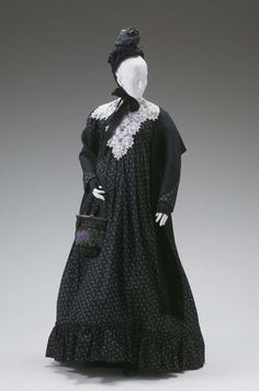 Victorian Maternity Dress | Maternity Day Dress: ca. 1885-1890's, printed cotton.