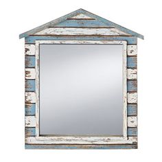 Prinz Mirror with Wood Border in Distressed White and Blue Finish *** You can find out more details at the link of the image.
