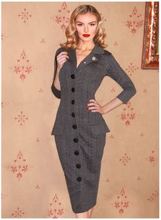 Miss Caswell Smoke Vintage Style Pencil Dress - British Retro Vintage Outfits, Vintage Fashion, Vintage Style, Revere Collar, Business Dresses, Wiggle Dress, Retro Chic, Button Dress, Eclectic Style