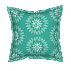 Serama Throw Pillow featuring mint teal dahlia pop by dnbmama | Roostery Home Decor