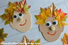 Utiliser des feuilles d'automne pour faire les cheveux de personnages rigolos. 13 activités créatives à faire avec les enfants pour célébrer l'automne