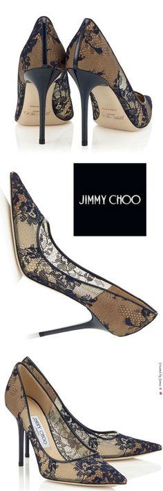 Pre Fall 2015 Jimmy Choo | Black Lace Pointy Toe Pumps | Jamie B