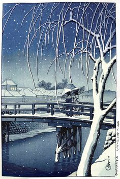 Evening Snow at Edo River (1932) by Hasui Kawase.
