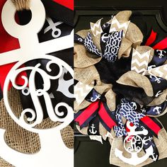"Our Nautical monogram wreath is now available in three sizes. 20"", 24"", & 28"" from Under the Kentucky Sun"