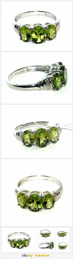 50% OFF #EBAY http://stores.ebay.com/JEWELRY-AND-GIFTS-BY-ALICE-AND-ANN   Peridot 3-stone ring 3.00 carats size 7 Silver USA Seller