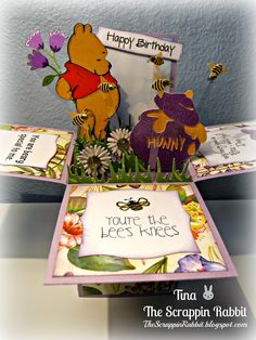 card in a box, cricut, pooh