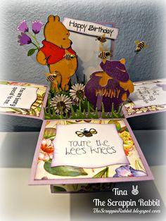 card in a box, cricut, pooh