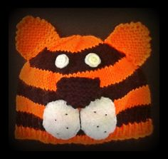 My latest knit baby Tiger Hat to fit up to 6 months www.facebook.com/knittedflowers :0)