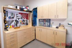 Get organized with plans for 5 Modular DIY Garage Cabinets! Build the storage you need in your garage shop. Sample layouts included to help you get started. Armoire Garage, Garage Cabinets Diy, Garage Cabinet Systems, Cabinet Plans, Shop Cabinets, Diy Garage, Garage Shop, Dresser Plans, Small Garage
