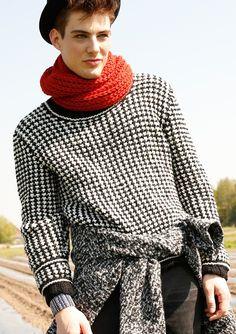 Schwarz-weißer Herrenpullover, stricken mit Rebecca - mein Strickmagazin und ggh-Garn TOPAS (41% Wolle, 32% Polyacryl, 18% Polyamid). Garnpaket zu Modell 17 aus Rebecca Nr. 59