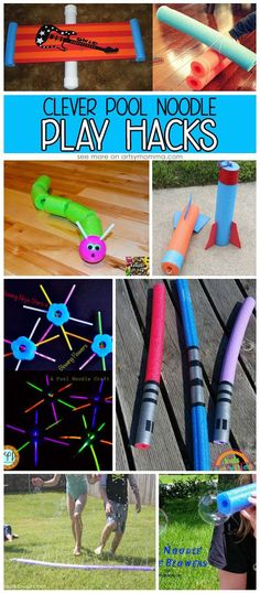 These pool noodle ideas are a fun way to use pool noodles without getting wet! These fun ideas are a great way to use pool noodles! Outdoor Activities For Kids, Hands On Activities, Learning Activities, Games For Kids, Creative Activities, Educational Activities, Summer Fun For Kids, Diy For Kids, Crafts For Kids