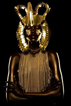 "vmagazine: "" 'Golden Goddess' - model: Mari Agory - photographer: Lindsay Adler - stylist: LSC - make-up: Griselle Rosario - Idol Magazine 2014 Golden Goddess, Black Goddess, African Beauty, African Fashion, Lindsay Adler, Pink Lila, Or Noir, Egyptian Goddess, Egyptian Mythology"