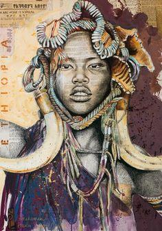 Stéphanie Ledoux - Carnets de voyage: REPROS Travel Sketchbook, Art Sketchbook, Famous Black Artists, Portrait Art, Portraits, Art Sur Toile, Afrique Art, Ledoux, African Paintings