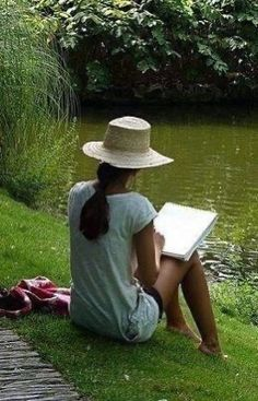 A quiet afternoon reading by the pond Lily Pond, Quiet Moments, Woman Reading, We Are The World, Peaceful Places, A Perfect Day, Back To Nature, Simple Pleasures, Solitude