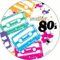 7-inch Awesome 80s Party Dessert Plates come 8 per package.