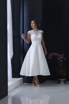 Tea length Mikado bridal gown with lightly sequinned lace appliqué Wedding Dresses For Older Women, Tea Wedding Dresses, Casual Wedding Gowns, Short Wedding Gowns, Plus Size Wedding Gowns, Bridal Dresses, Ankle Length Wedding Dress, Vow Renewal Dress, Necklines For Dresses