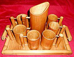 Vintage Tiki Bamboo Beer Beverage Tankard/Mug/Tray Set!