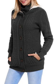 68e424ffcf Mode Charcoal Long Sleeve Button-up Hooded Knit Cardigans