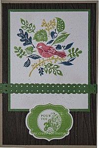 une carte colorisée avec les feutres stampin up