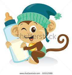 A cute baby monkey cartoon illustration holding a bottle of milk. - stock vector