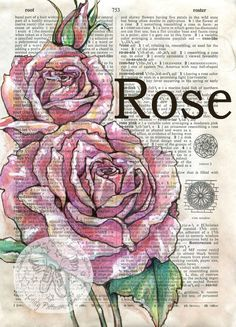 PRINT: Rose Mixed Media Drawing on Distressed, Dictionary Page