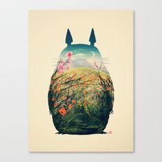 Tonari no Totoro Stretched Canvas by Victor Vercesi -