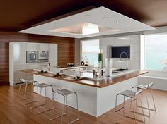 Un ilot de cuisine peut être moderne et très pratique