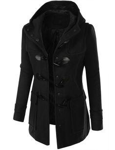 LE3NO Womens Fleece Military Pea Coat Jacket with Pockets ...