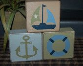 Picture Graphic Blocks Sailboat Anchor Life Preserver Zachary Nautical Bedding Boys Girls Kids Wood Sign Shelf Blocks Primitive Country Thought of making this for Ayden; I think Drew would like this for Ayden's room.