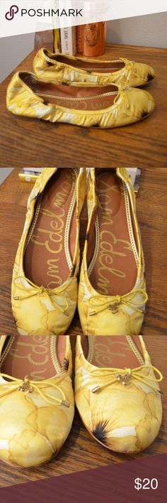"Sam Edelman Floral ""Felicia"" Flats Lightly worn (never in rain) Sam Edelman Felicia flats. This bright yellow and brown floral print always paired well with dark Skinny Jeans for a nice pop of color. These have a slightly-padded insole, partial genuine leather lining and a soft satin upper. 