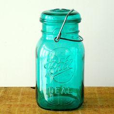 Vintage Ball Ideal Mason Jar  Bicentennial  Turquoise Blue by vint, $12.00