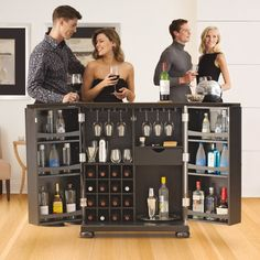 This expandable bar transforms from an elegant cabinet to bar cart on the fly.