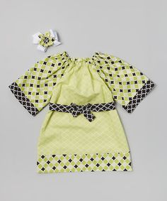 Love this Lime Quartrefoil Dress & Bow Clip - Infant, Toddler & Girls by Heavenly Things for Angels on Earth on #zulily! #zulilyfinds