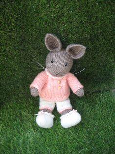 Beautiful hand knitted bunny rabbit doll by dollsandbunnies