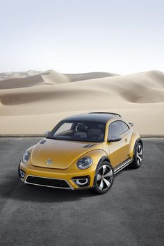 Unveiled at the North American International Auto Show (NAIAS), the Volkswagen Beetle Dune Concept is a near-production study of an all-road, rugged version based on the R-Line model. Carthage, Volkswagen New Beetle, Volkswagen Models, Automobile, Beetle Convertible, Pt Cruiser, Yellow Car, Sub Brands, Vw Beetles