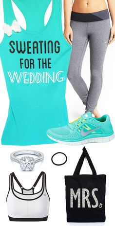 Bridal #Workout Gear featuring Teal SWEATING FOR THE WEDDING with Bow  ;) perfect!!!