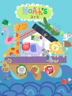 """Noah's Great Big Ark"" fabric wall decal poster by Jill McDonald for Oopsy daisy, Fine Art for Kids $20"